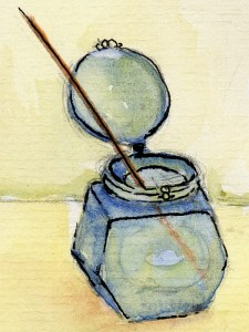 Painting of Ruth's inkpot.