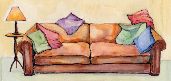 Painting of Ruth's sofa.
